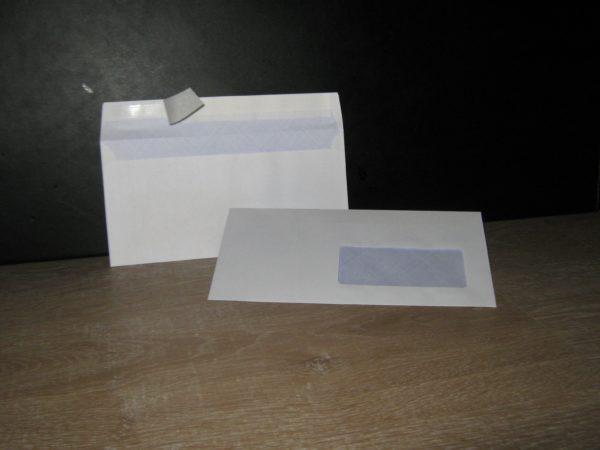 Enveloppes auto-adhésives DL-110X220 Blanc 80g Fenêtre 45X100