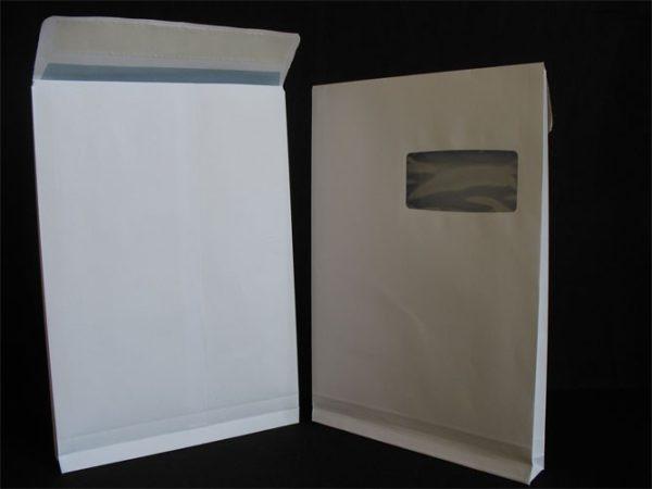 Sacs à soufflets C4-229X324x30 Blanc 120g Fenêtre 100X50